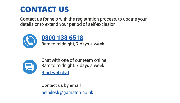contact gamstop UK