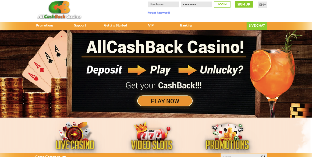 All cash back casino review