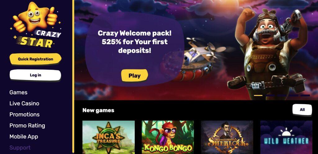crazy star casino review